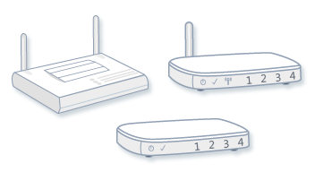 Illustration of an access point, a wired router, and a wireless router