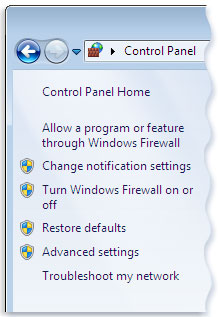 Picture of the left pane of Windows Firewall in Control Panel