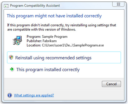 Picture of the Program Compatibility Assistant