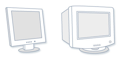 Picture of an LCD monitor and CRT monitor
