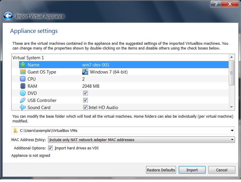 Importing and exporting virtual machines - VirtualBox